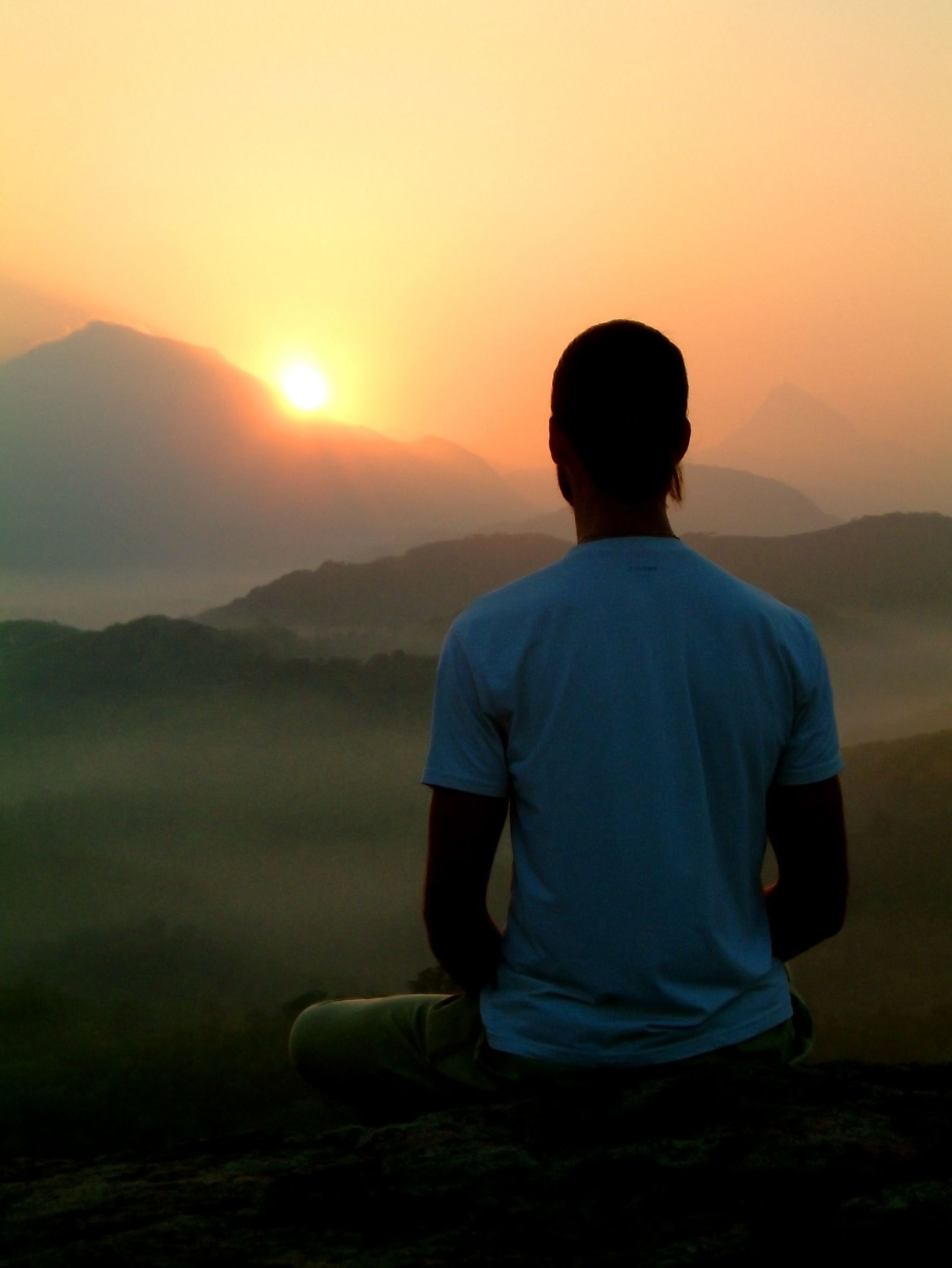 meditator at sunset