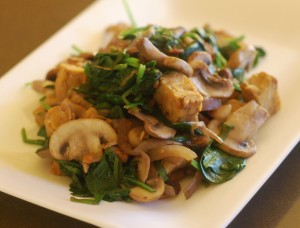 tempeh with mushrooms